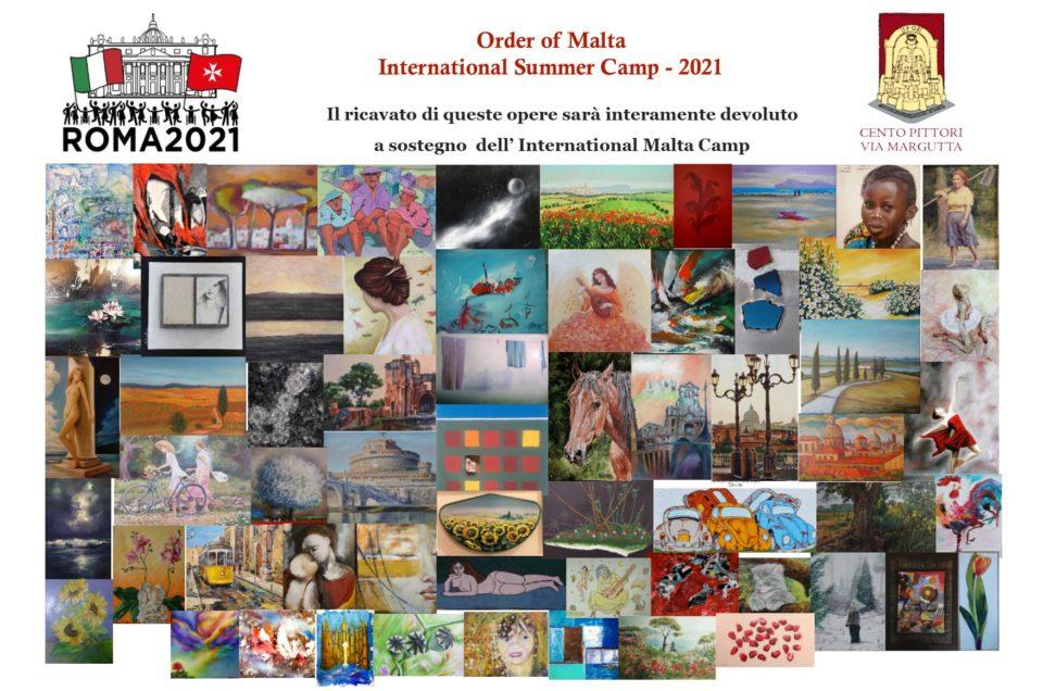 """Gli Artisti dell'Associazione""""Cento Pittori Via Margutta"""" donano le proprie opere a sostegno del Campo Estivo Internazionale 2022 dell'Ordine di Malta"""